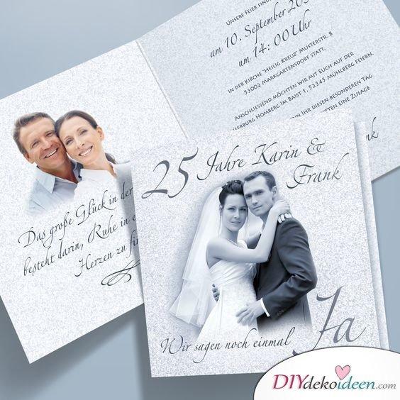 Einladungskarten zur Silberhochzeit mit Hochzeitsfoto