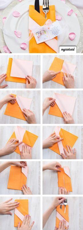Servietten falten zur Hochzeit – Umschlag fürs Besteck