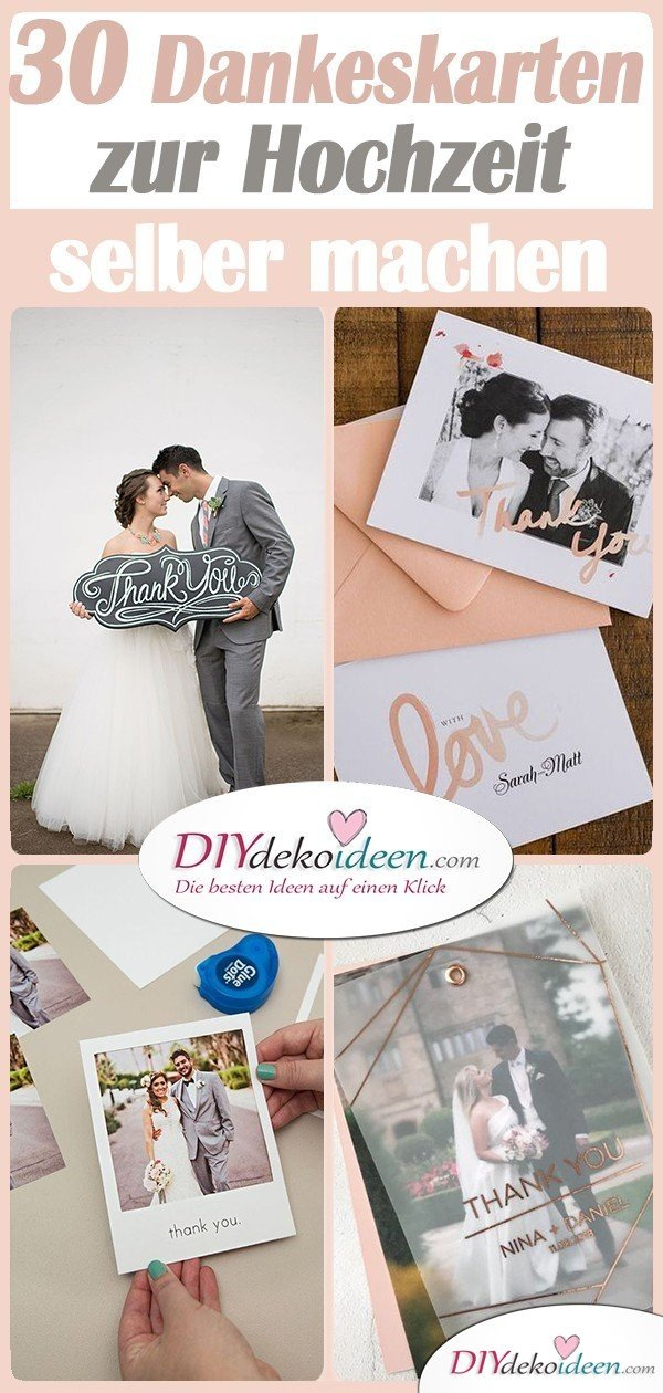 30 Ideen für Dankeskarten zur Hochzeit - Danksagungskarten Hochzeit