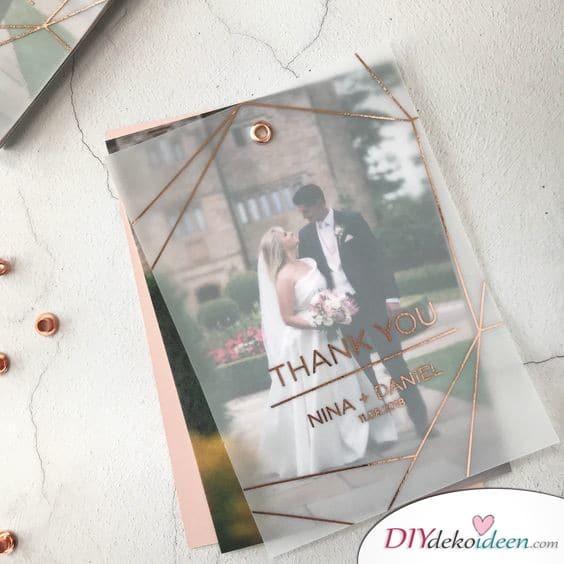 Transparente Danksagungskarten Hochzeit
