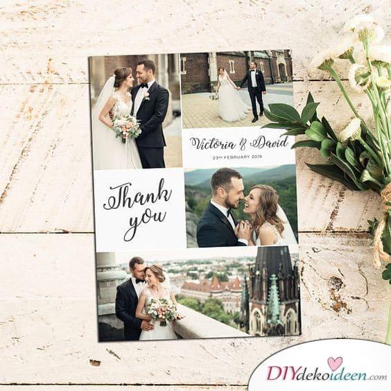 Fotocollage - Dankeskarten zur Hochzeit
