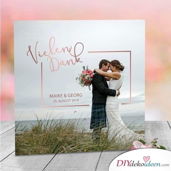 Dankeskarten zur Hochzeit mit metallenem Schriftzug