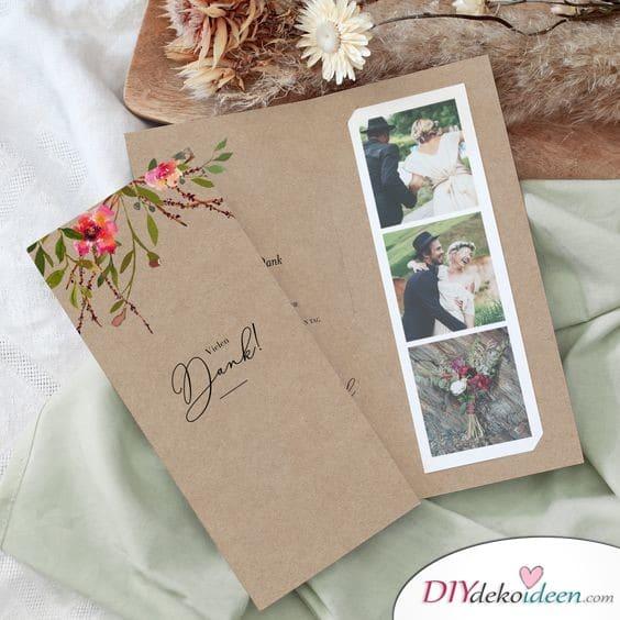 Danksagungskarten Hochzeit mit Fotoreihe