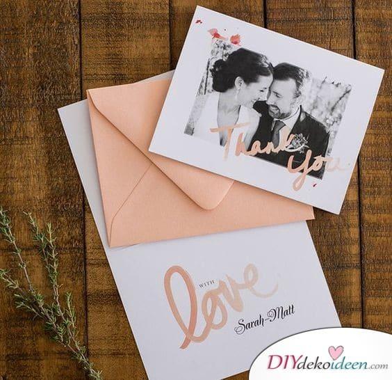 Danksagungskarten zur Hochzeit in zarten Farben