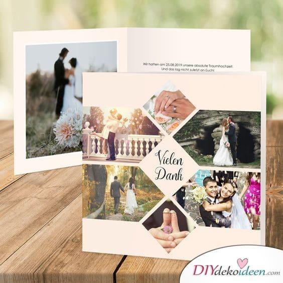 Schicke Bildercollage – Fotokarten Hochzeit