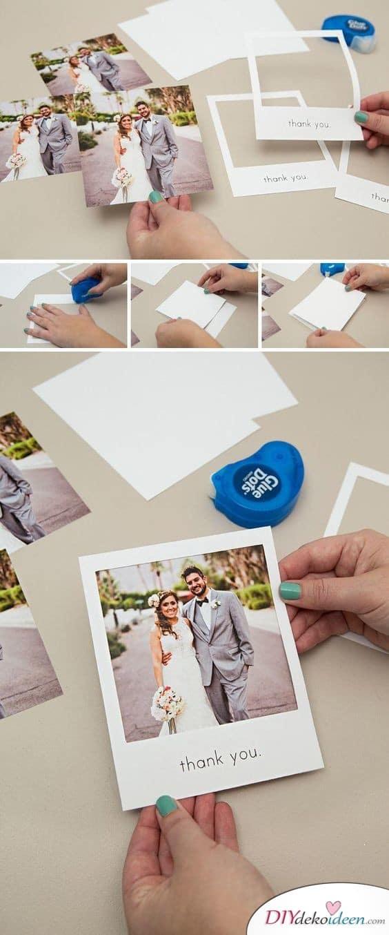 Danksagungskarten zur Hochzeit mit Polaroidrahmen