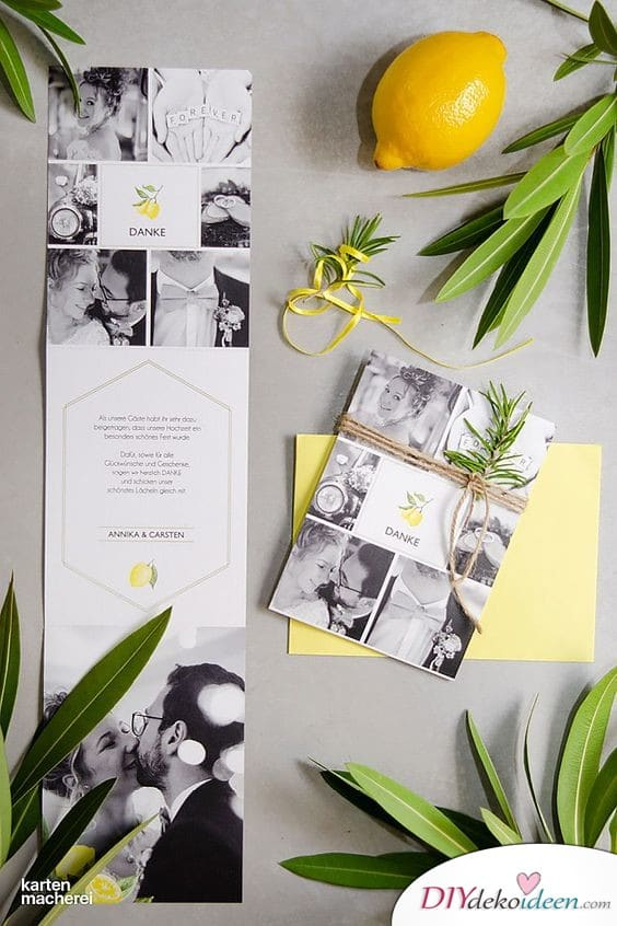 Erfrischendes Zitronenmotiv - Dankeskarten zur Hochzeit