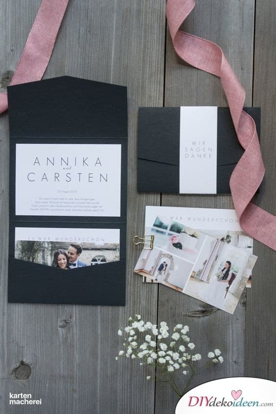 Schlichte und moderne Karten zur Hochzeit