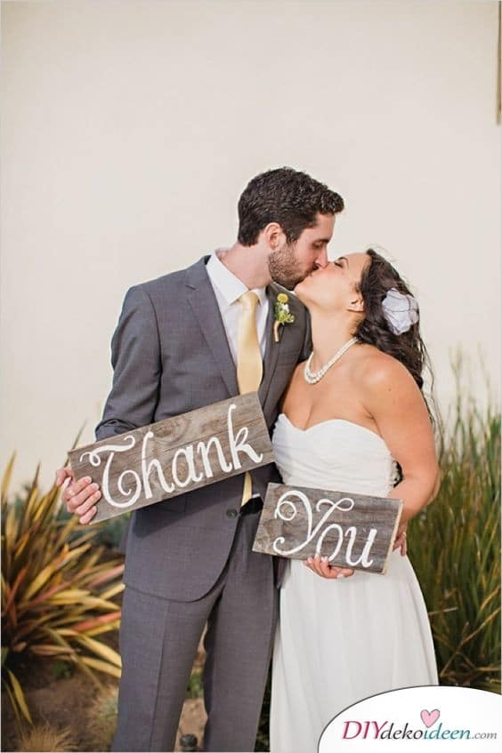 Holzschildchen - Danksagungskarten Hochzeit