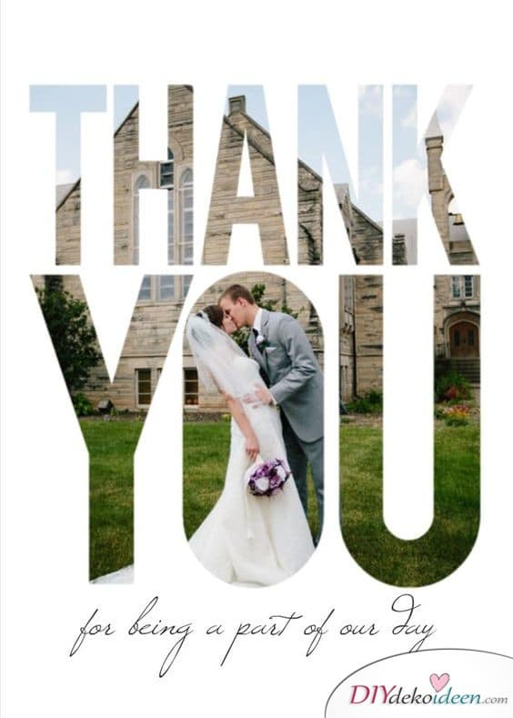 Schriftzug mit Fotos - Dankeskarten selbst gestalten