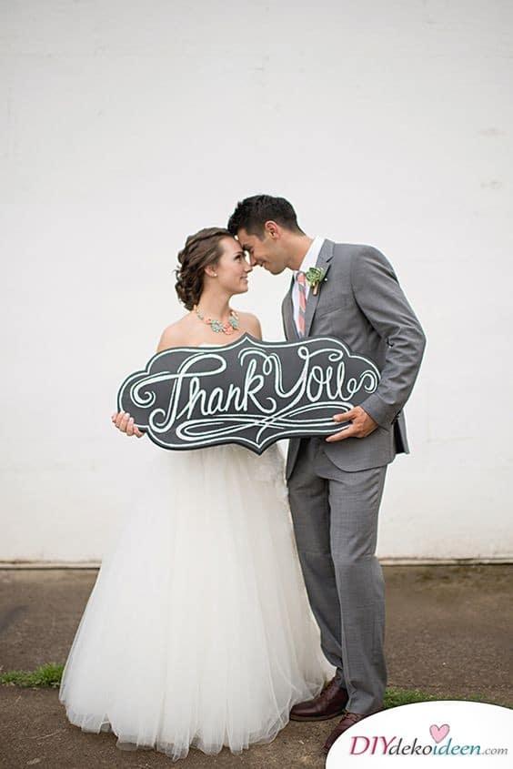 Dankeskarten zur Hochzeit – Großes Schild