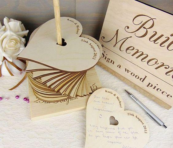Holzherzchen - Hochzeitsgästebuch