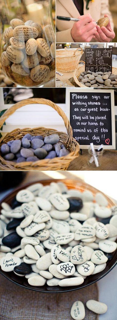 Gästebuch aus Steinchen - Hochzeitsgästebuch Ideen