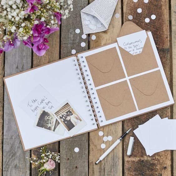 Gästebuch mit Briefumschlägen - Hochzeitsgästebuch Ideen