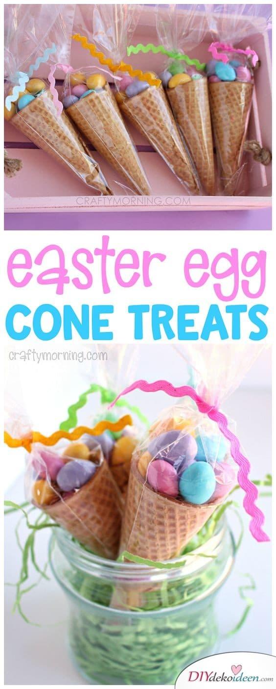 Eiswaffeln mit Süßigkeiten gefüllt - Ostergeschenke für Kinder