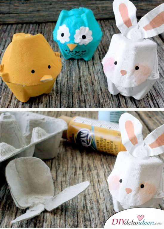 Geschenke zu Ostern – Figuren aus Eierkartons