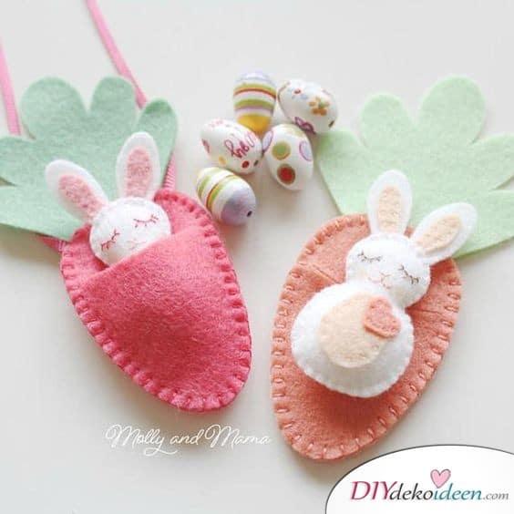 Süße Osterhasen in Karottentaschen - Geschenkideen Kinder