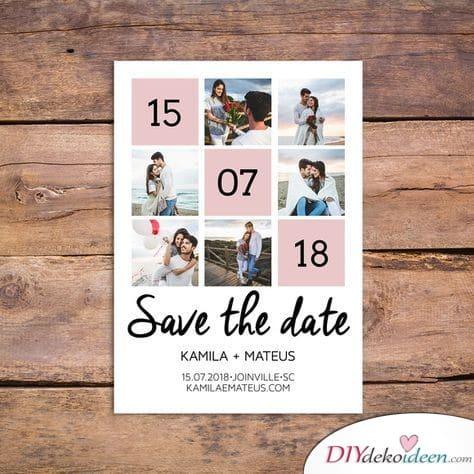 Süße Fotocollage - Save the Date Karten selber machen