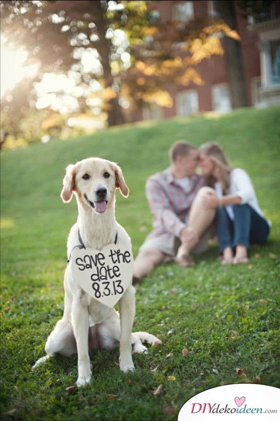 Einladungen zur Hochzeit selbst gestalten mit Haustier