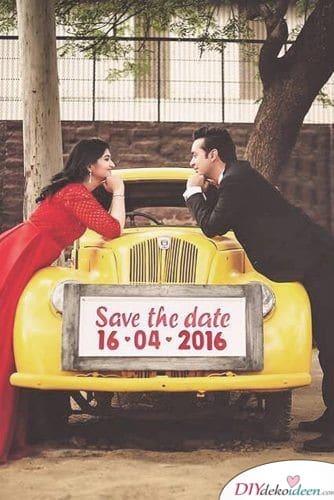 Nummernschild - Save the Date Karten Vintage