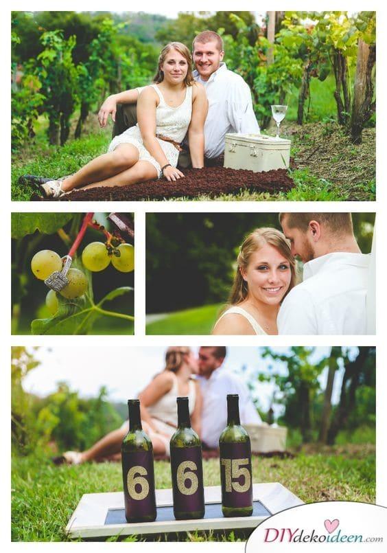 Weinflaschen mit Hochzeitsdatum - ausgefallene Save the Date Karten