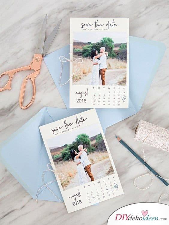 Kalenderblatt - Save the Date Karten selber machen