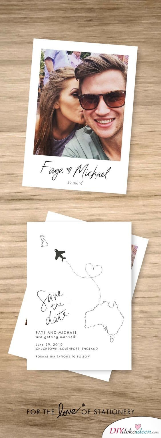 Save the Date Karten zur Hochzeit mit Polaroidrahmen