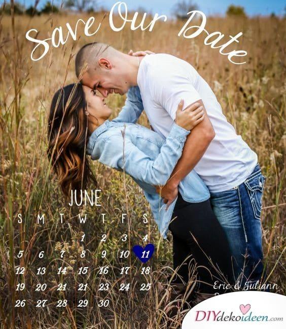Save the Date Karten zur Hochzeit mit Kalenderblatt