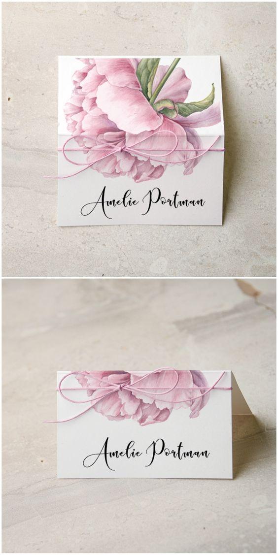 Namenskarten zur Hochzeit mit Blumen