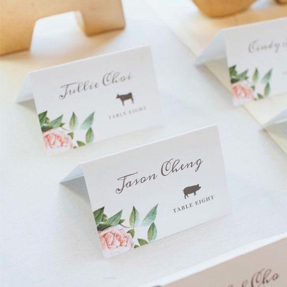 Blumenmotiv-Tischkarten selbst gestalten