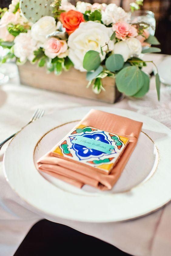 Tischkarten Ideen mit Kacheln