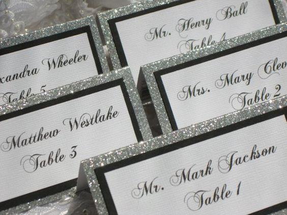 Glitzernde Hochzeit Platzkarten