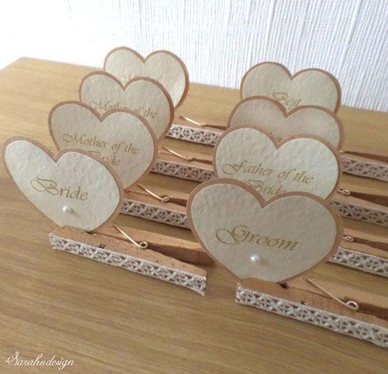 Tischkarten zur Hochzeit Ideen – Herzchenschilder