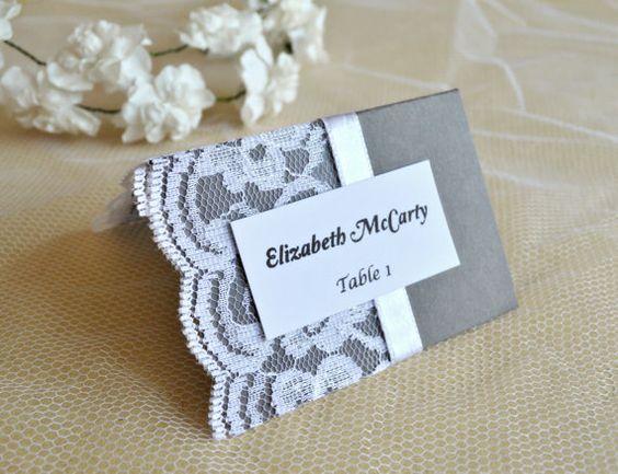 Tischkarten für Hochzeit mit Spitze