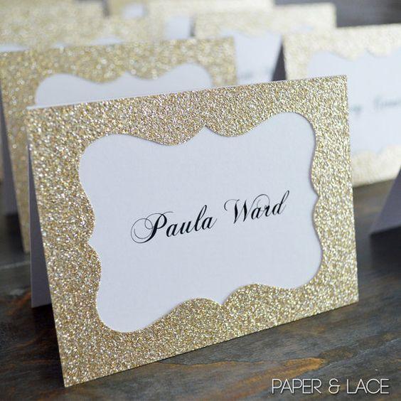 Tischkarten zur Hochzeit selber machen aus Glitzerpapier