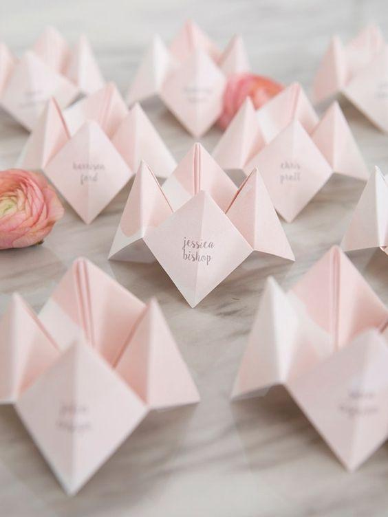 Origami Tischkarten zur Hochzeit selber machen