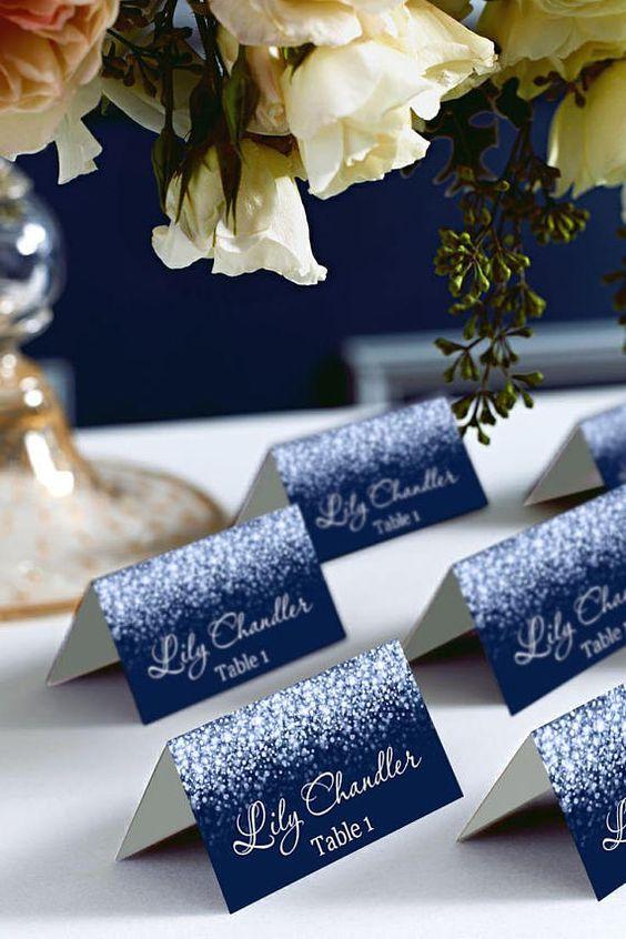 Tischkarten zur Hochzeit Ideen - Schneeflocken