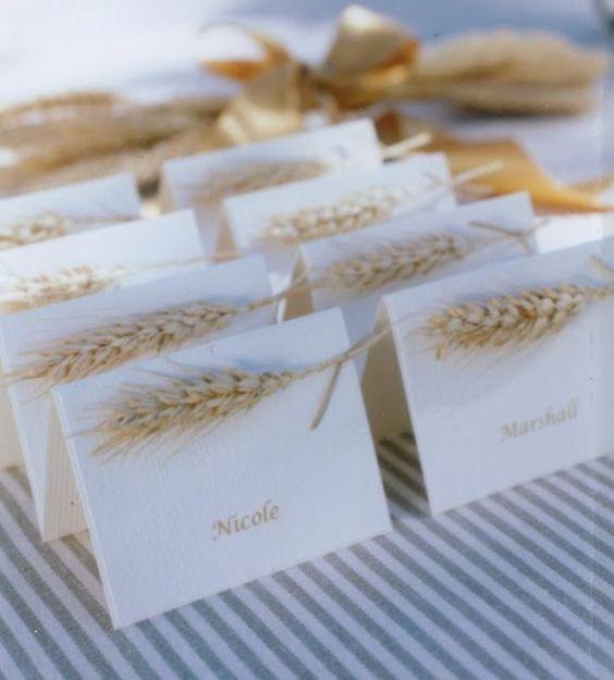 Namenskarten zur Hochzeit mit Ähren