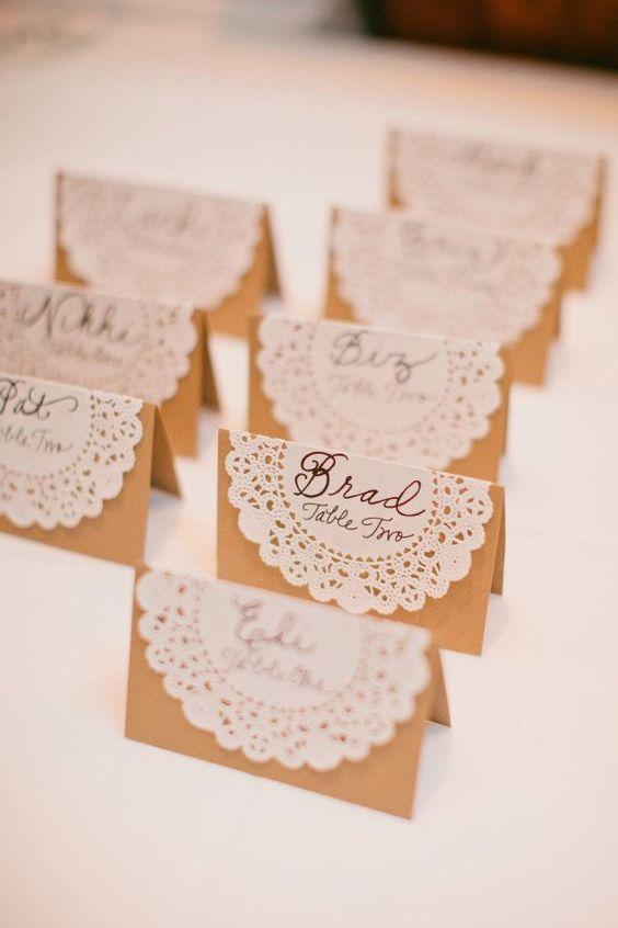 Hochzeit Platzkarten mit Tortenspitzen