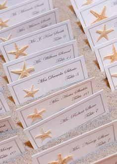 Tischkarten zur Hochzeit selber machen mit Seesternen