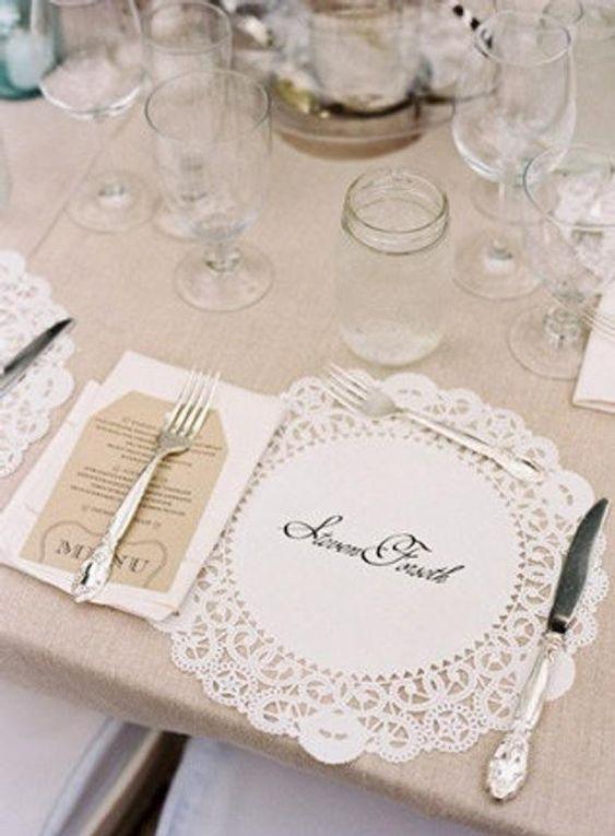 Namensschilder zur Hochzeit mit Tortenspitzen