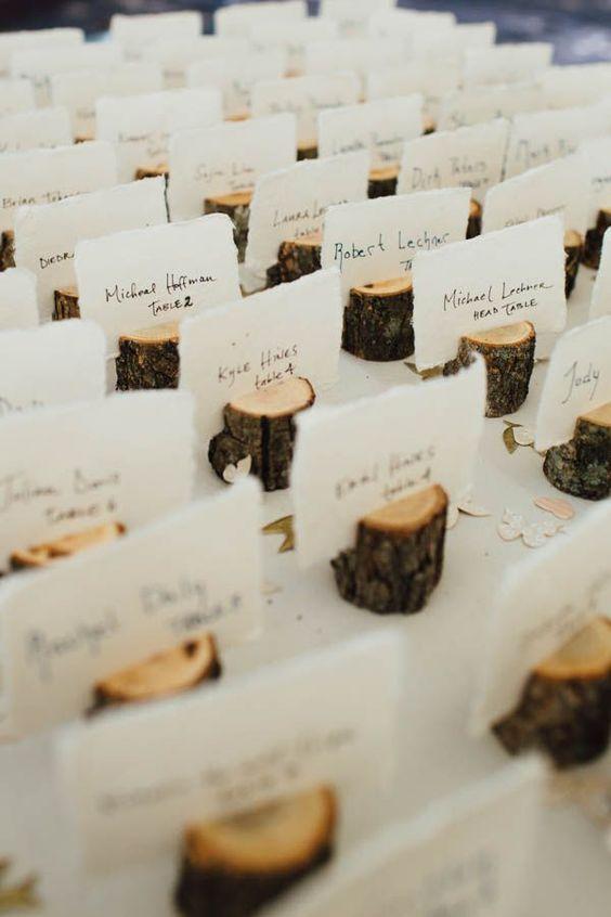 Namensschilder zur Hochzeit aus Holz