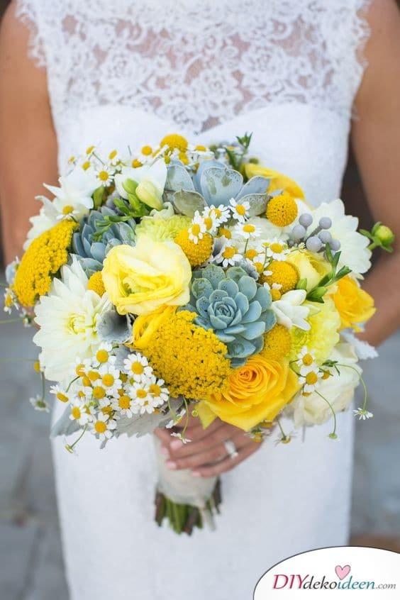 Ansprechendes Gelb - Brautstrauß Beispiele