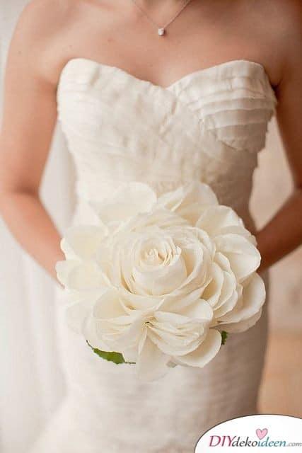 Große Papierrose - Hochzeitsstrauß