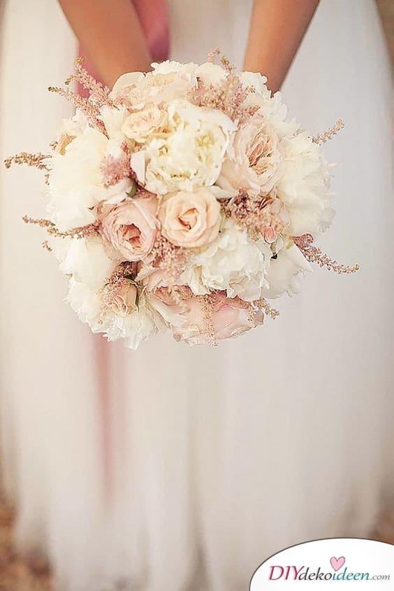 Brautstrauß Pastell - Puderrosa und Weiß