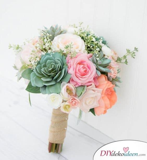 Sukkulenten und Rosen