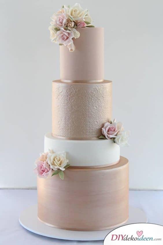 Eleganter Glitzer - Hochzeitstorte dekorieren