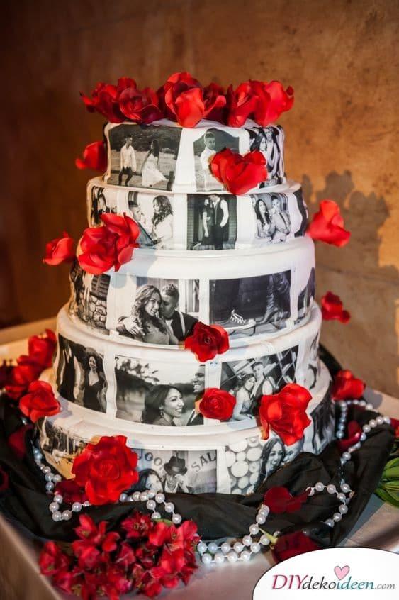 Hochzeitstorte mit Fotos des Brautpaars