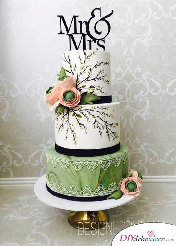 Tortendeko zur Hochzeit – Mit Zweigen bemalte Torte