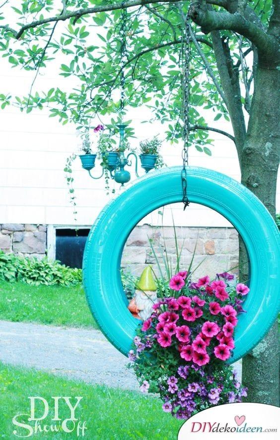 Bepflanzter Reifen - Frühlingsgartendeko